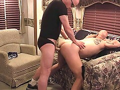 Horny bear swallows and gets drilled