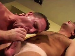 Horny blond gay munching on meaty fat cock