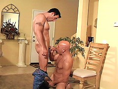 Bald bear pumping his shaft deep into sexy ivory