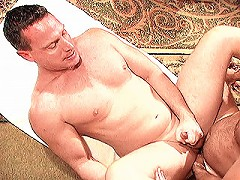 Horny gay bear wanking off while sucking huge cock
