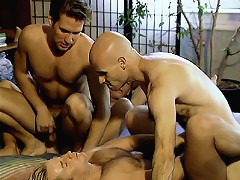 Bear Eduardo sucking and fucking away finding himself in a middle of a hot group gay sex