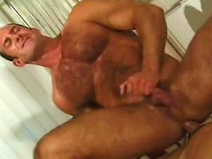 Bulk muscle gay sitting down sitting up on hard cock