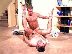 Tanned mature bear ramming his stiff cock deep into young studs hole