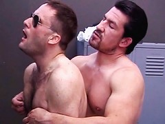 Hot and hairy gay police sucking meat stick