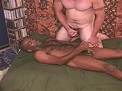 Nasty huge bodied gay bear couple engaged in interracial cock play