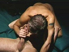 Muscular gay bear couple in deep mad dick sucking action