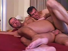 Unshaved gay hunks in ass pumping sex thrill on bed