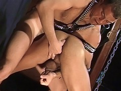 Big and brawny gays get ass plugged