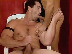 Bear Paul Morgan on a steamy session of hot gay sex blowing and fucking while standing