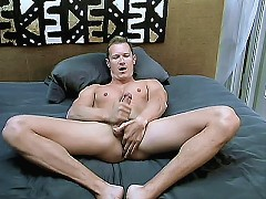Hot bear Simon August strokes his stiff pole while he plays with his balls