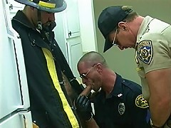 Cops get naughty with a hung fireman