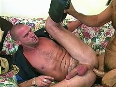 Lubed up cop asshole pounded by dick