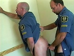 Hairy officers get to hard butt fucking