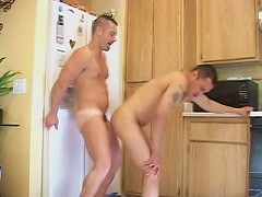 Desirous mature bears jerking off each other in the kitchen