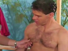 Tight abs gays squeezing stiff long cock