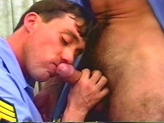 Cock starved gay bear officer gets down and dirty with a bushy erected cock